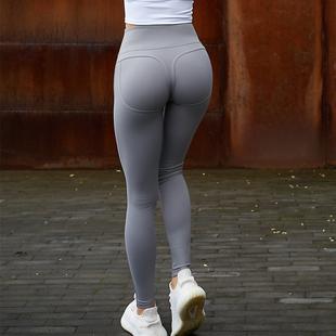四季 高腰蜜桃臀运动跑步健身裤 速干提臀显瘦弹力紧身大码 九分裤