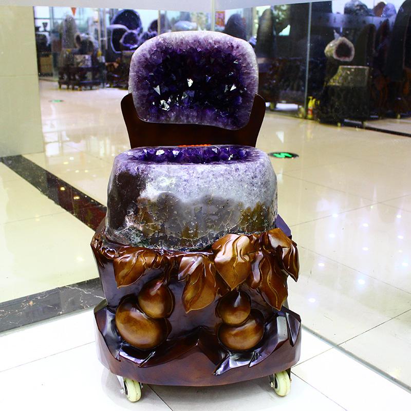 天然水晶聚宝盆紫晶洞原石钱袋子消磁摆件