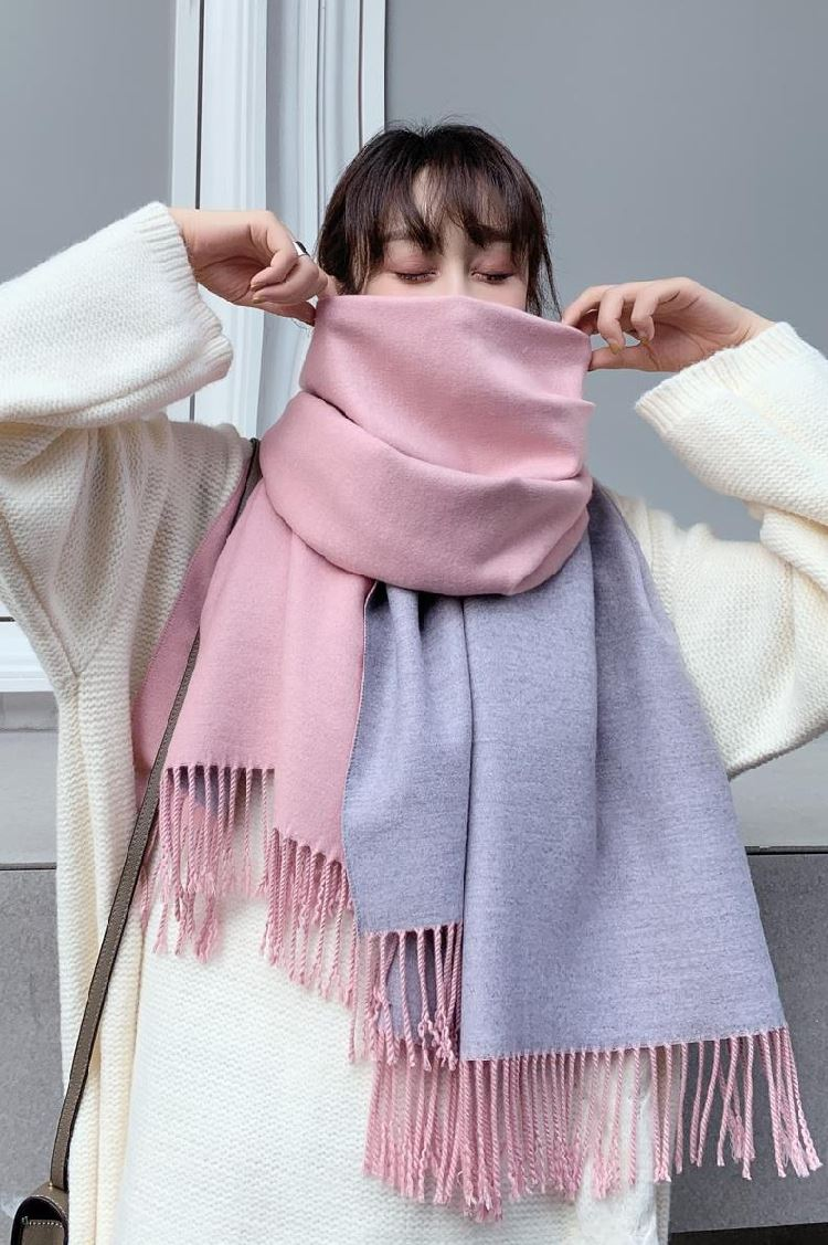 Shawl female autumn winter warm dual purpose scarf work letter stripe show literature and art white Long Scarf boy wind proof