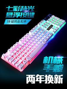 可爱少女多功能有线鼠标键盘套装玩游戏男辅助功能流行设计师两用
