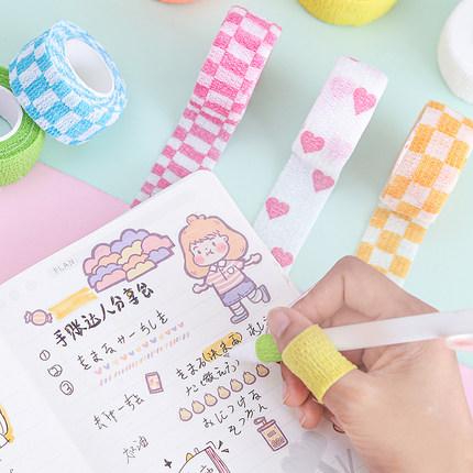 学生写字护指绷带ins 防磨茧起茧手指保护套可爱护手马卡龙色胶带