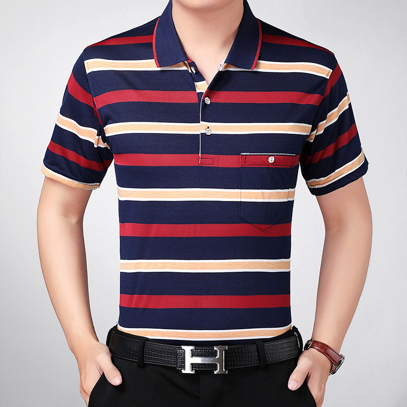 Mens Short Sleeve Striped Polo T-shirt middle-aged and young dad Lapel business leisure sports half sleeve width plus fat