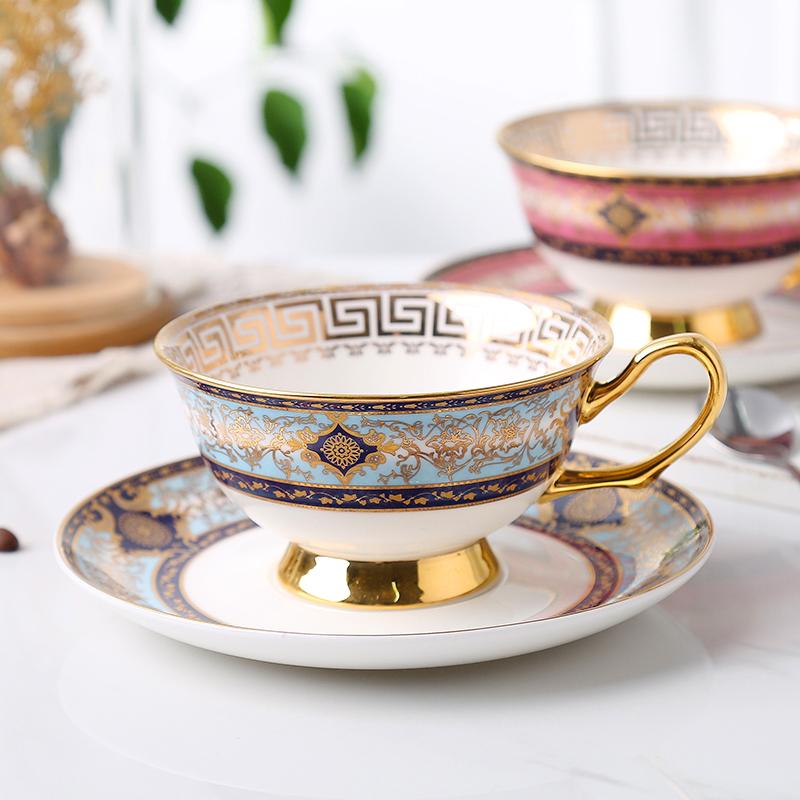 High grade European coffee cup small luxury gold border bone china British afternoon tea set household black tea cup
