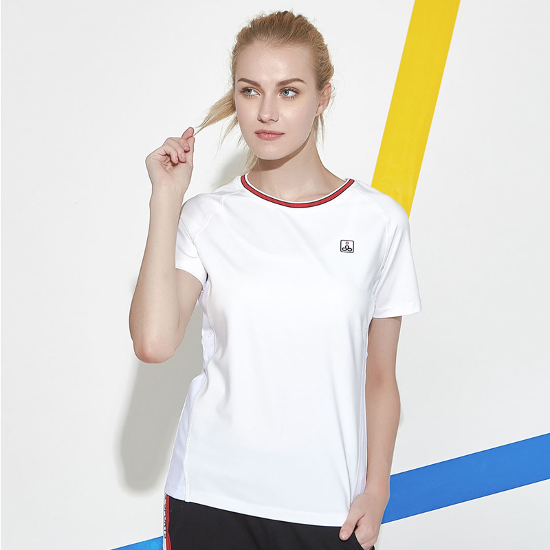 Womens short sleeve T-shirt summer 2020 new womens round neck simple solid color sports top T-shirt bottomed shirt