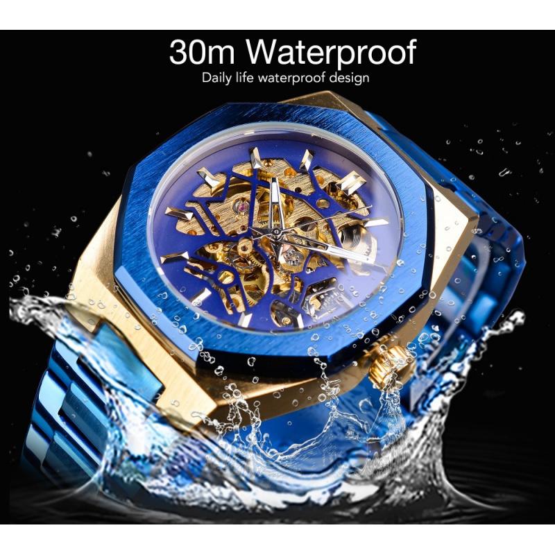 精品名表 FORSINING手表全镂空手表钢带男士全自动机械表男表腕表