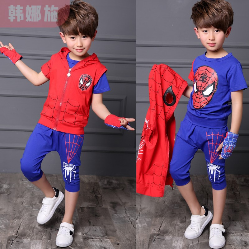 Spiderman childrens summer suit for boys