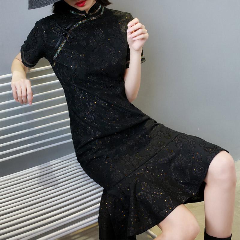 改良版鱼尾女旗袍黑色蕾丝连衣裙(用10元券)