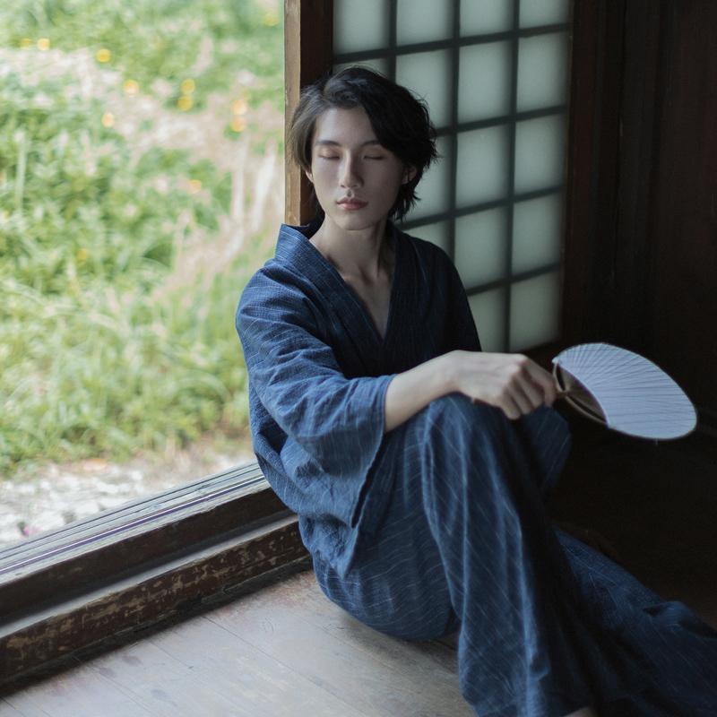 日本男士和服雾雨武士长袍日式家居浴袍汗蒸服复古正装传统写真