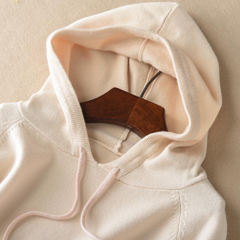 朵绒纯秋冬2018新款女套头连帽卫衣宽松帽衫长袖纯色外套针织毛衫