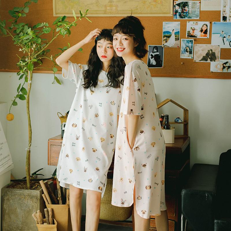 睡裙女夏季薄款纯棉短袖韩版学生可爱连衣裙宽松大码孕妇夏天睡衣热销168件限时抢购
