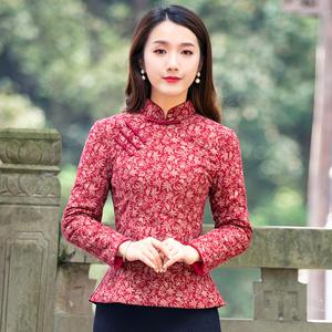 筠雅冬季中式唐装上衣改良旗袍复古盘扣红棉袄夹棉加厚中国风女装