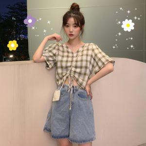 夏季宽松半袖上衣女新款抽绳系带显瘦短款泡泡袖衬衫女韩版小清新