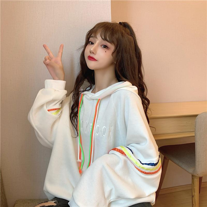 7805#官图 韩版宽松卫衣女秋冬新款加绒加厚彩条抽绳学生上衣外套