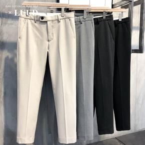 LUUD 夏季男垂感免烫小脚西裤修身英伦风青年韩版小直筒休闲长裤