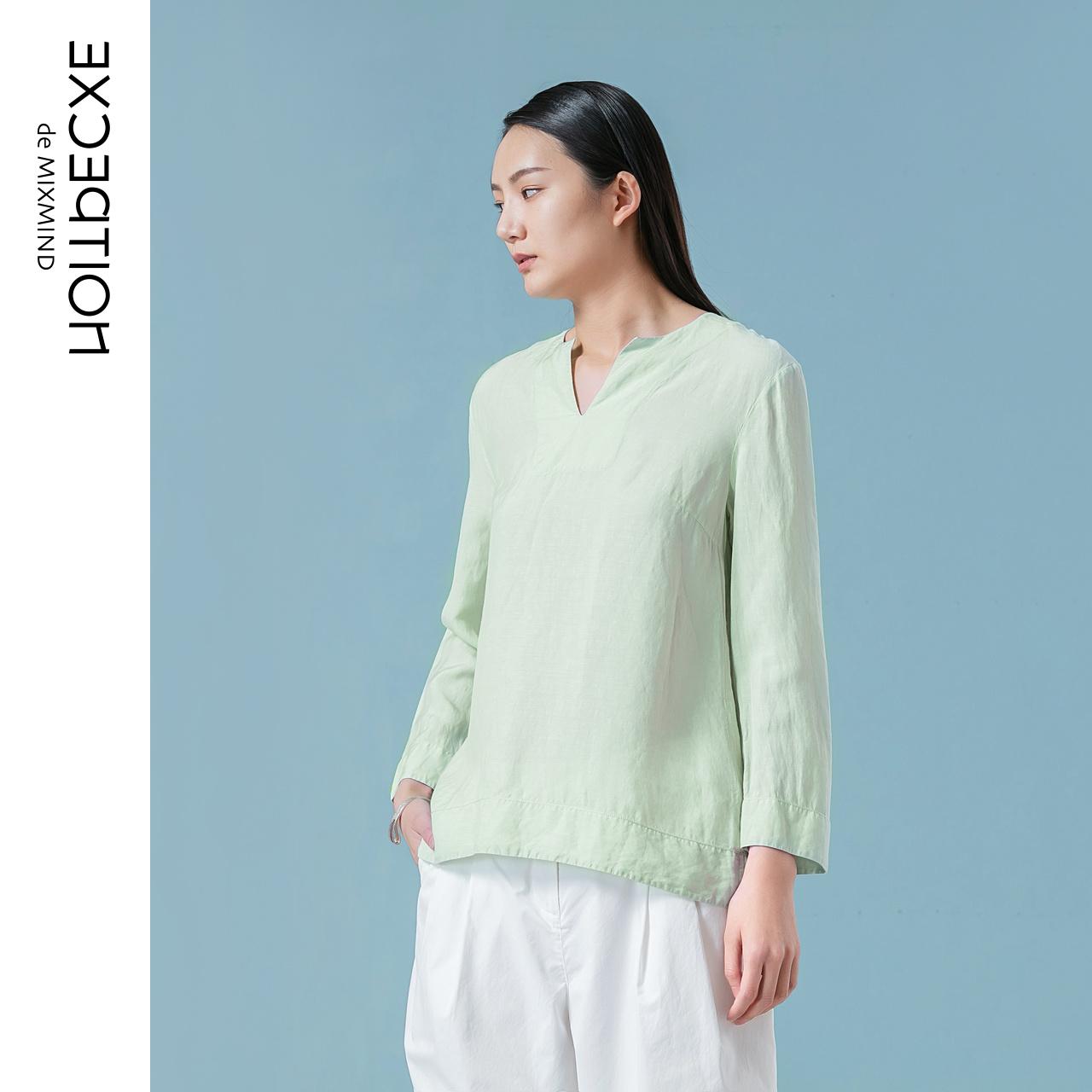 EXCEPTION例外 v领长袖套头衬衫女 文艺t恤衬宽松衣上衣女装夏季