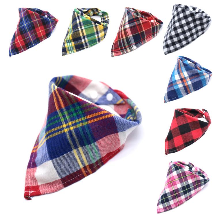 母婴用品苏格兰风三角巾新款带扣安全宝宝儿童格子绒布三角巾