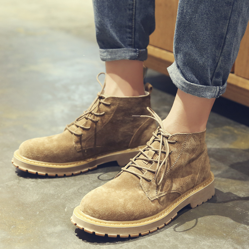 中帮马丁靴男潮流高帮真皮加绒短靴冬季雪地英伦风工装鞋复古靴子