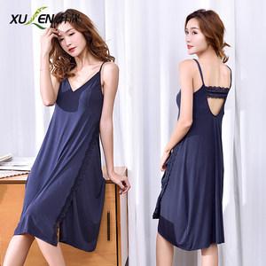 吊带睡裙女夏季莫代尔薄款性感诱惑情趣蕾丝宽松大码长款棉绸睡衣