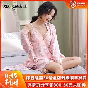性感睡衣女春秋蕾丝情趣吊带睡裙大码纯棉长袖睡袍两件套装夏季