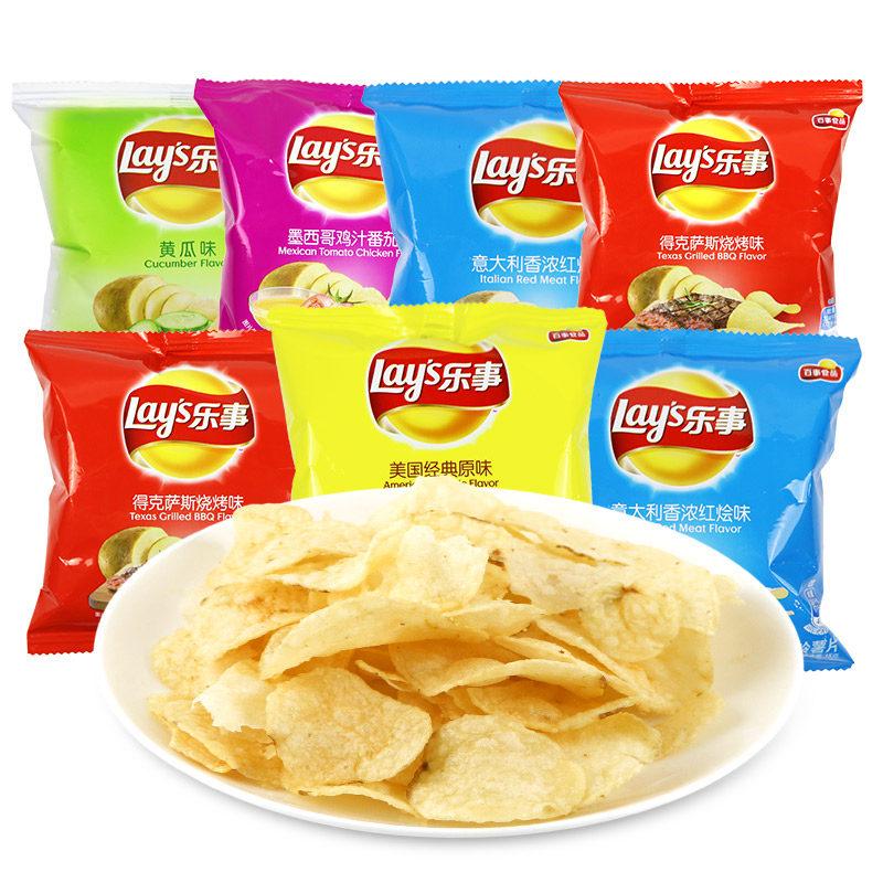 乐事薯片原味黄瓜味组合15g*120袋装整箱零食大礼包马铃薯5口味包