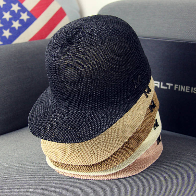 M標識春夏新作女史草編インロン風馬術帽騎士帽子サンバイザーリゾートビーチ帽子