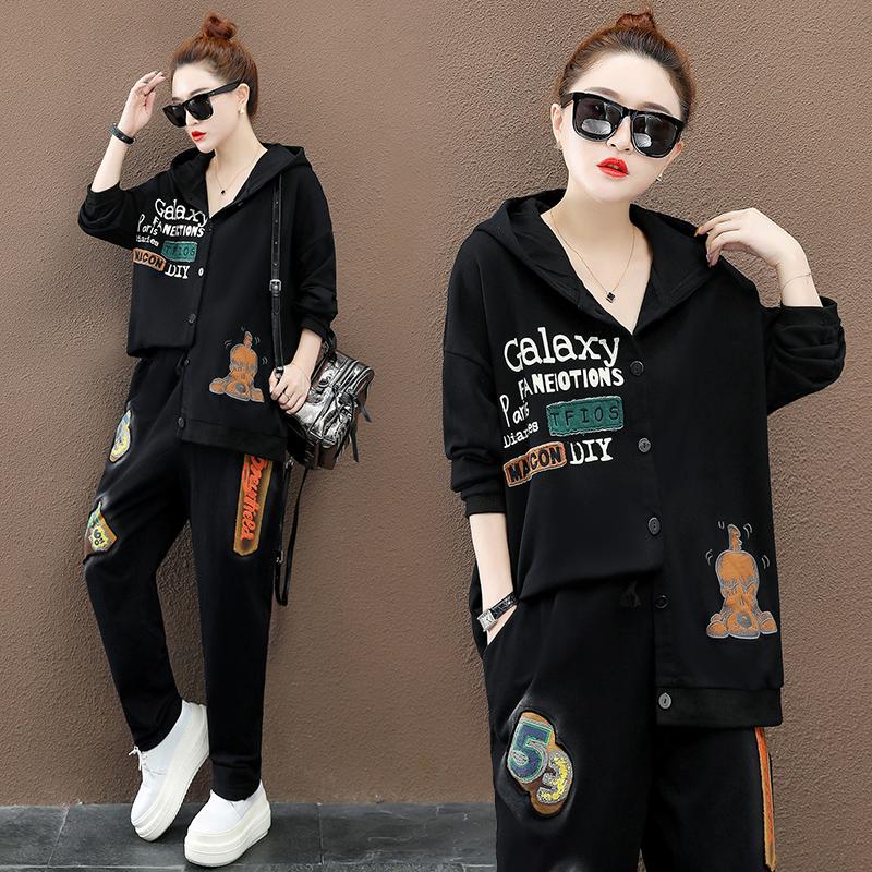 时髦运动休闲套装女秋季新款大码宽松洋气开衫上衣+牛仔裤两件套不包邮