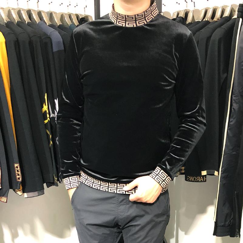 2019冬新款潮流男装欧洲站个性金丝绒T恤韩版修身男士立领长袖T恤