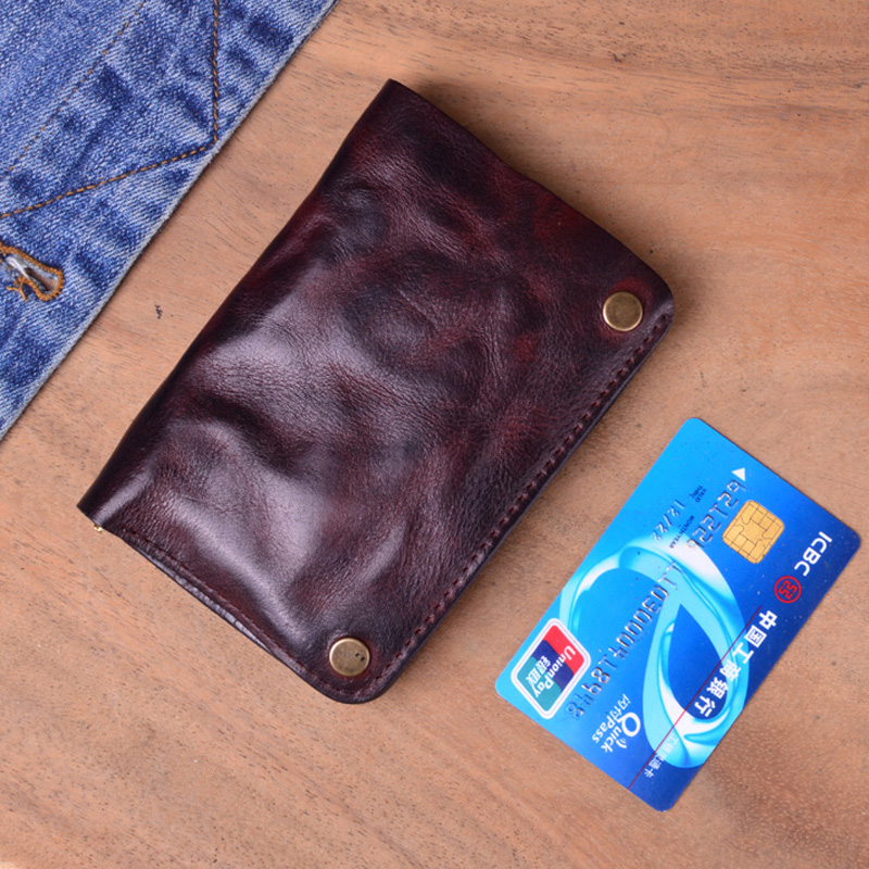 Original retro pleated leather vertical wallet mens short head Leather Wallet Zipper small card bag