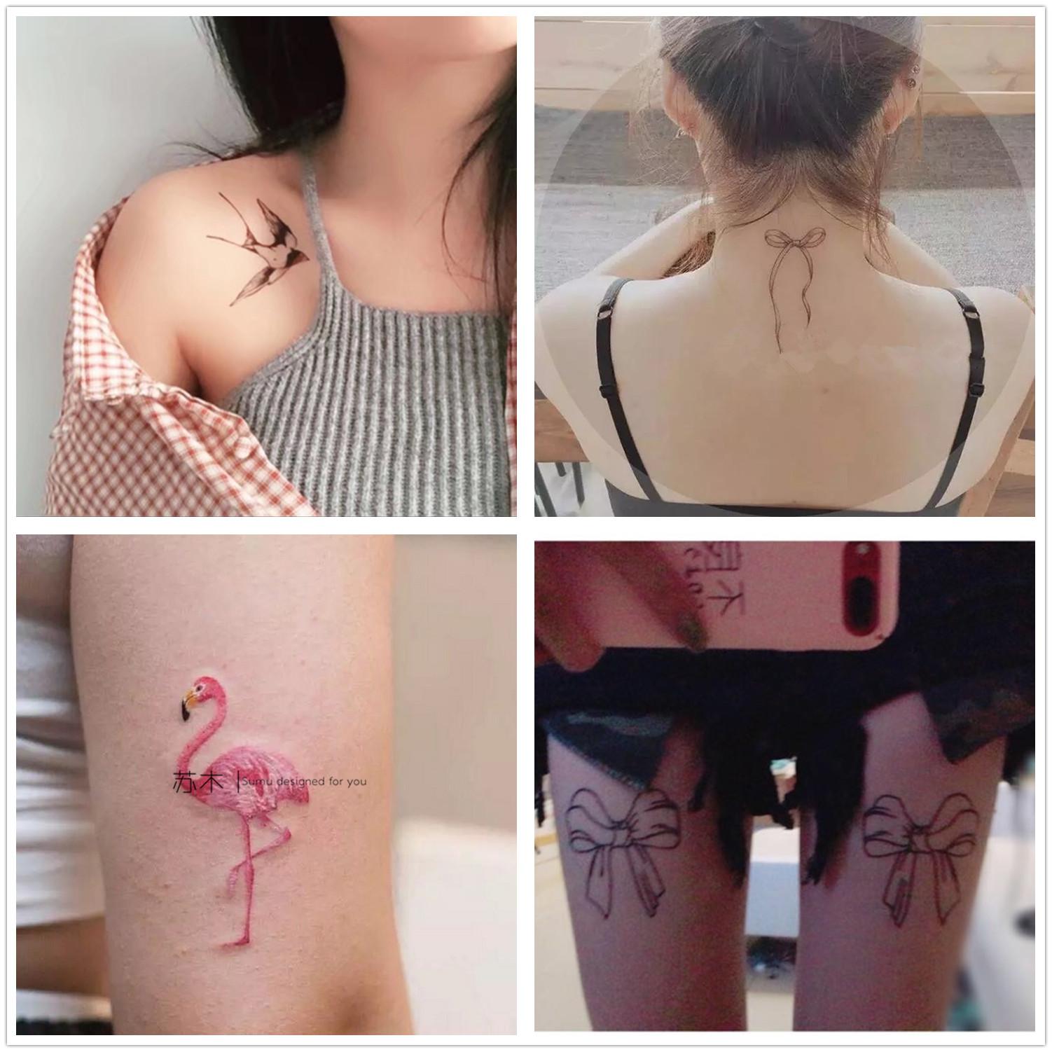 纹身贴防水 女持久仿真 韩国 猫咪 海豚 蕾丝花朵图腾七夕情侣套