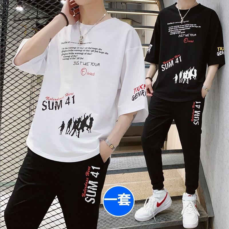 (用5元券)冰丝短袖T恤男夏天超薄运动休闲套装男士加肥加大码宽松胖子5短裤