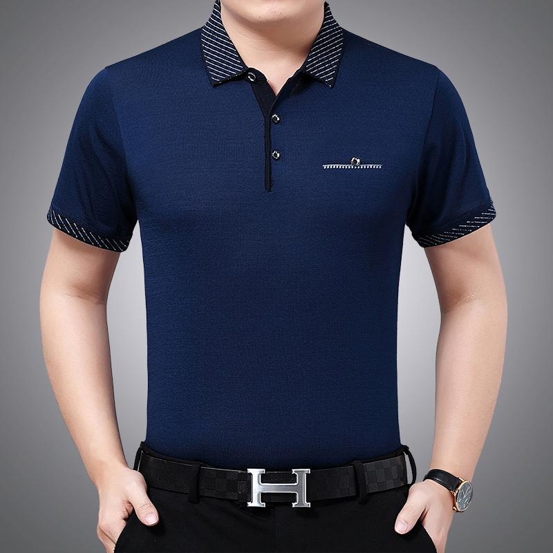 代写贺卡父亲节中年人男士夏季冰丝棉短袖T恤40-50岁POLO衫宽松