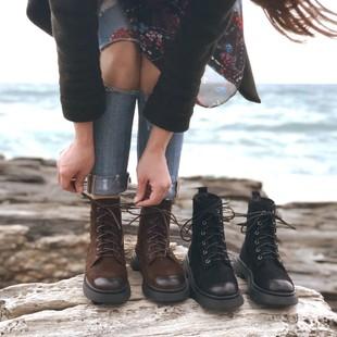春秋网红马丁靴女英伦风平底短靴
