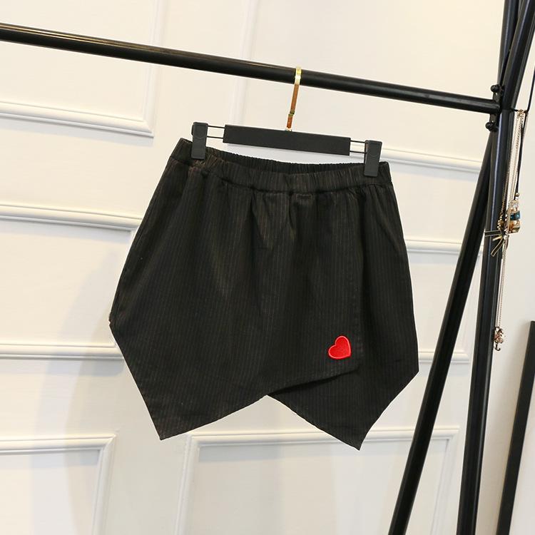 韩版加肥加大码女装休闲个性短裤XXXL胖MM夏季新款刺绣条纹热裤潮