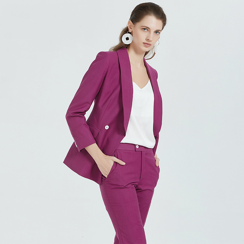 Rose red suit womens coat Korean version slim professional suit white collar ol fashion casual small suit customization
