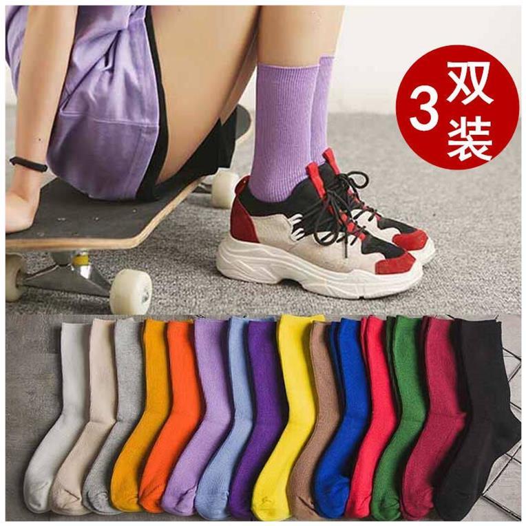袜子女韩版堆堆袜春秋季学院风潮流中筒高装女士袜个性原宿长筒袜