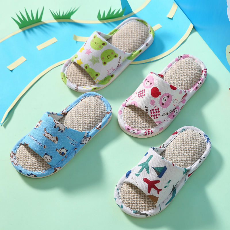 Childrens sandals indoor Summer Boys and girls childrens home linen home spring and autumn cotton linen baby antiskid