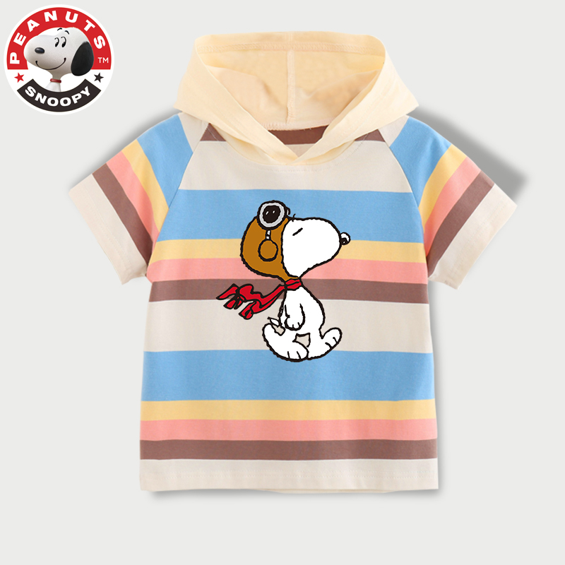 Snoopy boys and girls short sleeve summer clothes Rainbow Stripe printed cotton T-shirt hooded casual top
