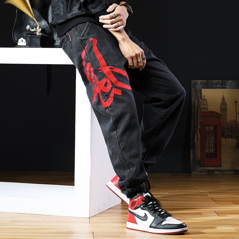 Embroidered jeans mens loose fashion Harem Pants Black casual Chinese Style Mens large autumn new Leggings