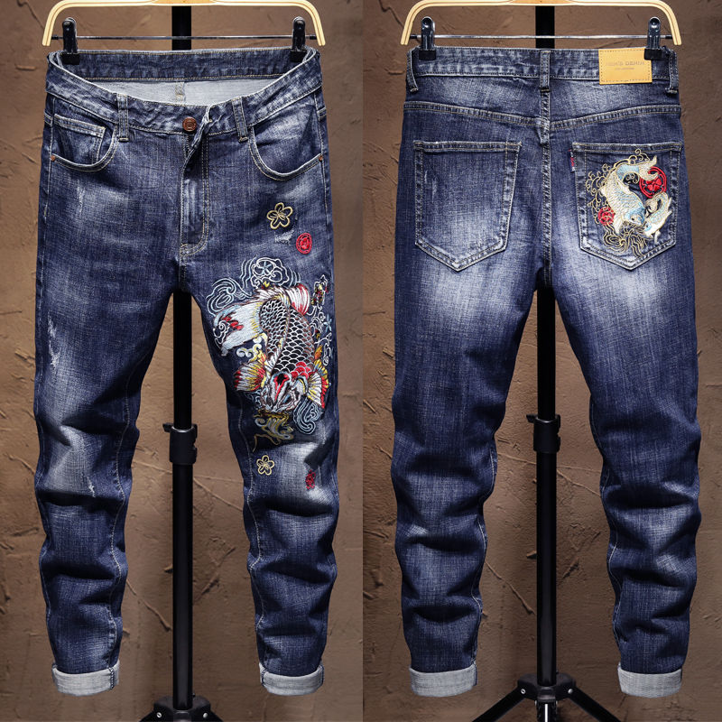 Summer embroidery jeans mens trendy slim Leggings elastic personality trend Chinese style pattern retro pants