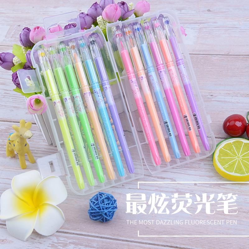 彩色中性笔套装12色 24色学生用 糖果色小清新闪光亮晶晶36支盒装