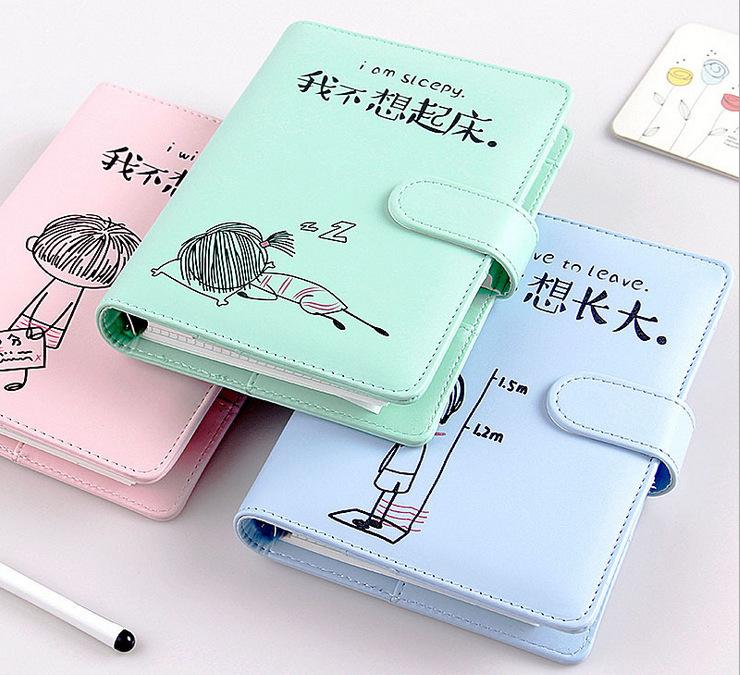 韩版绑带便携手帐本仿皮面 活页手账本小清新创意文具