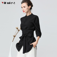 Shirt women's middle and Long-style jacket waist-collecting shirt looks slim-minded design feeling small crowd European station early autumn dress summer