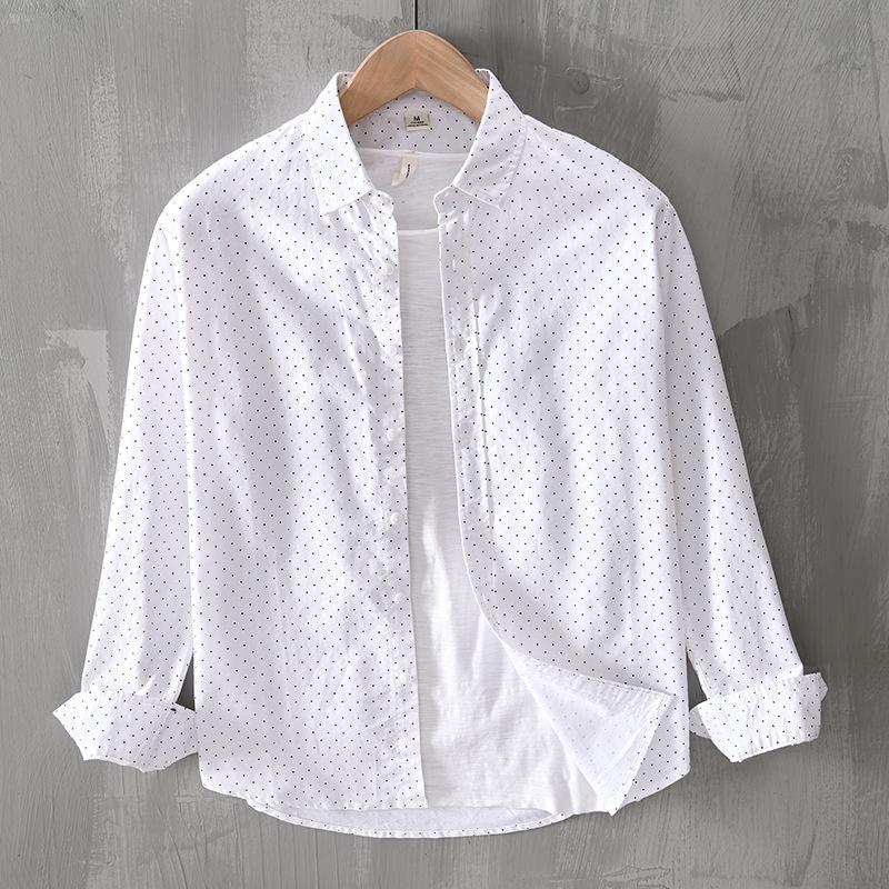 男士长袖衬衫纯棉斑点青年休闲翻领百搭水洗信息外套衬衣寸潮