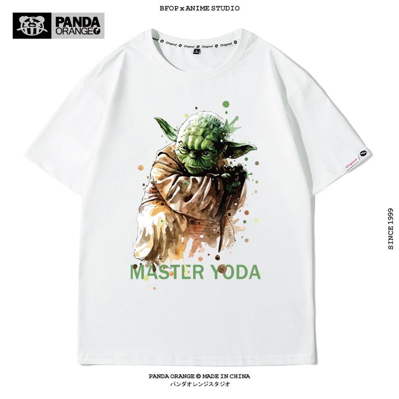 尤达宝宝Yoda Baby短袖男女纯棉曼达洛头盔式星球大战T恤图案定制