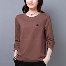 200斤大码女装韩版新款秋季长袖t恤女宽松显瘦遮肚子打底上衣胖mm