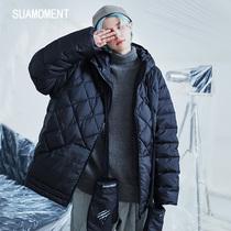 SuaMoment雪爪抓痕菱格手套羽绒服男短款潮流帅气情侣款冬季外套