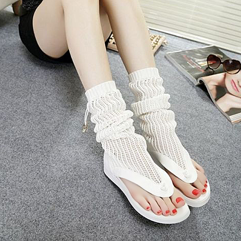 2020 mesh cool boots wool lace up new flat bottom clip toe breathable summer net boots high tube short boots sandals womens shoes