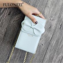 Florni bow decorative metal chain vertical single shoulder oblique handbag 2018 new women's bag