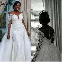 2019 African fish tail high end customized wedding dress
