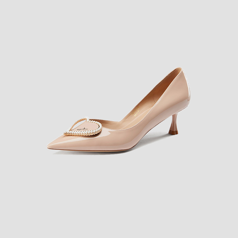 Ts2021 Autumn New Pearl peach heart pointed thin high heel patent leather womens Aussie single shoes ta21513-82